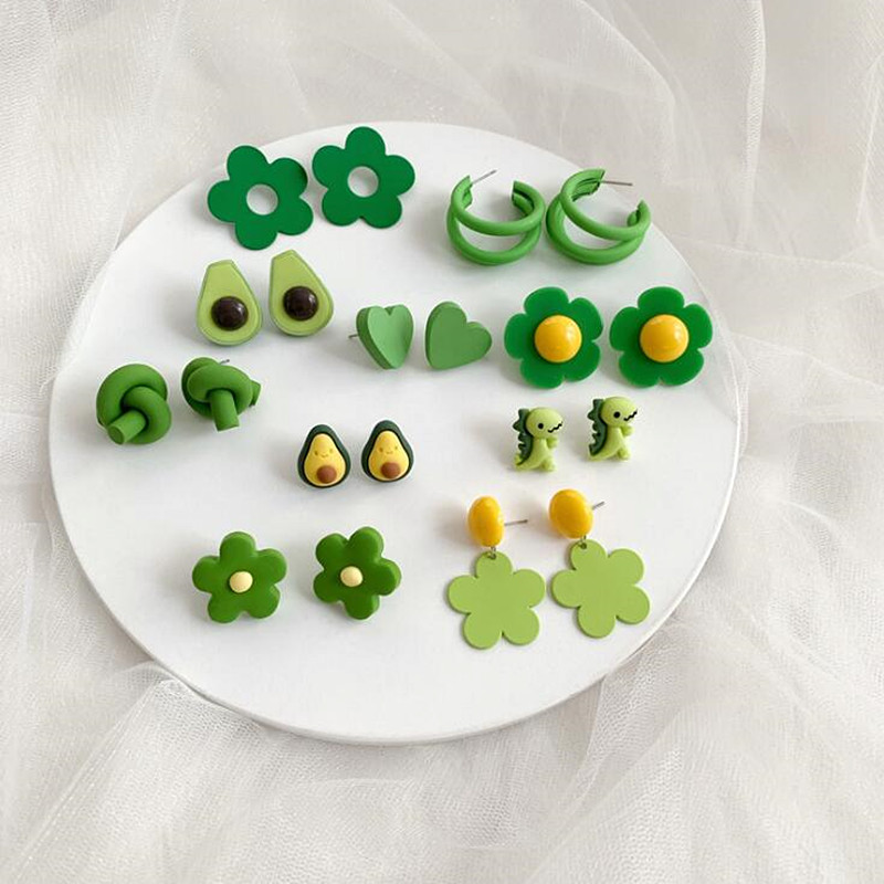 Timlee E074 New Retro Green Earrings Personality Heart Avocado Flower Dinosaur Alloy Studs Earrings Fashion Jewelry Wholesale