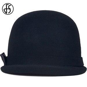 Image 5 - FS siyah yün keçe Fedoras şapka kadınlar için zarif kilise kap pembe yay kıvırmak Birm bayanlar Cloche şapkalar kış disket bowler Caps