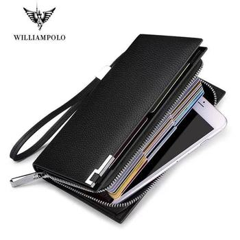 Men wallet RFID Blocking Clutch Wallets for Genuine Leather Business Handbags Accordion Slots Long Wallet