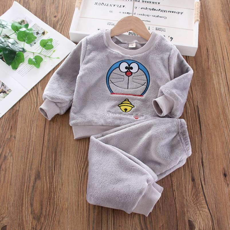 Baby Boy Winter Sets Plush Hooded Jacket 2pcs Children's Casual Outfit Suits Kids Arctic Velvet Tracksuit Toddler Girl Clothing 6