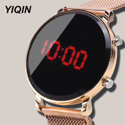 New Casual Women Watches LED Watch Stainless Steel Strap Ladies Watch Gift Female Clock Relogio Feminino Electronic Wristwatch