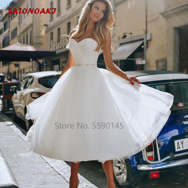 SATONOAKI Tea Length Short Wedding Dress Strapless Beaded Sash A Line 2020 New Simple Bridal Gowns Vestido De Noiva Custom Size