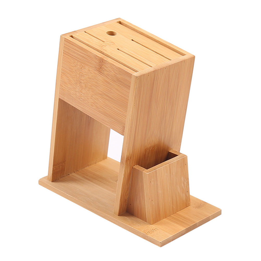Holder Stand Bamboo 7-Slot Multifunction Kitchen Tool Rack Organizer Cutlery Storage Knife Block