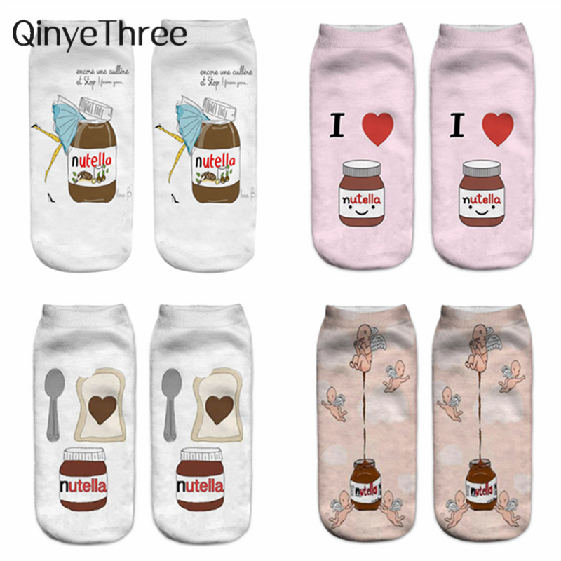 "2020 New Girls' Cute Cartoon 3D Printed ""nutella"" Winter Autumn Soft Cotton Unisex Funny Novelty Christmas Halloween Gift Socks"