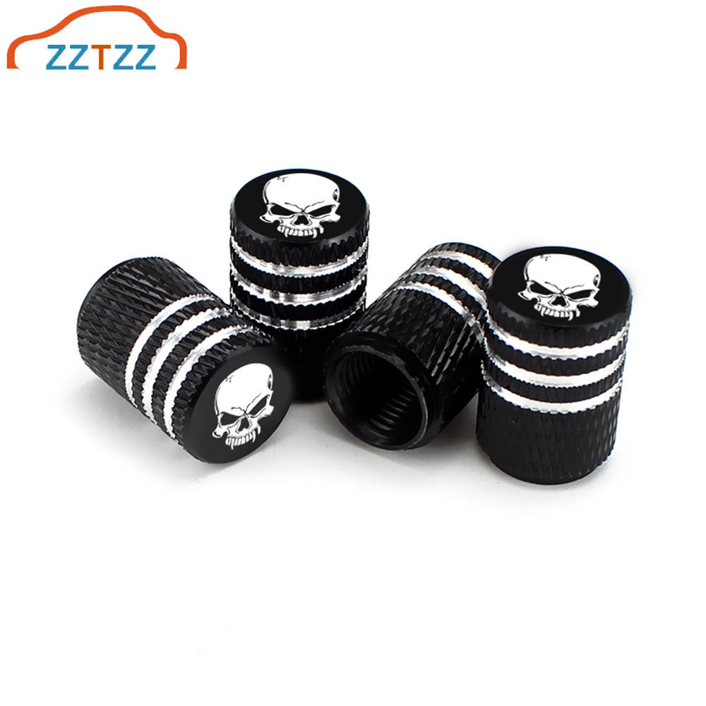 4Pcs Set Universal Skull Alu-alloy Tire Valve Caps for Car Truck Motorcycle Bicycle Valve Stem Cover Tire Accessories