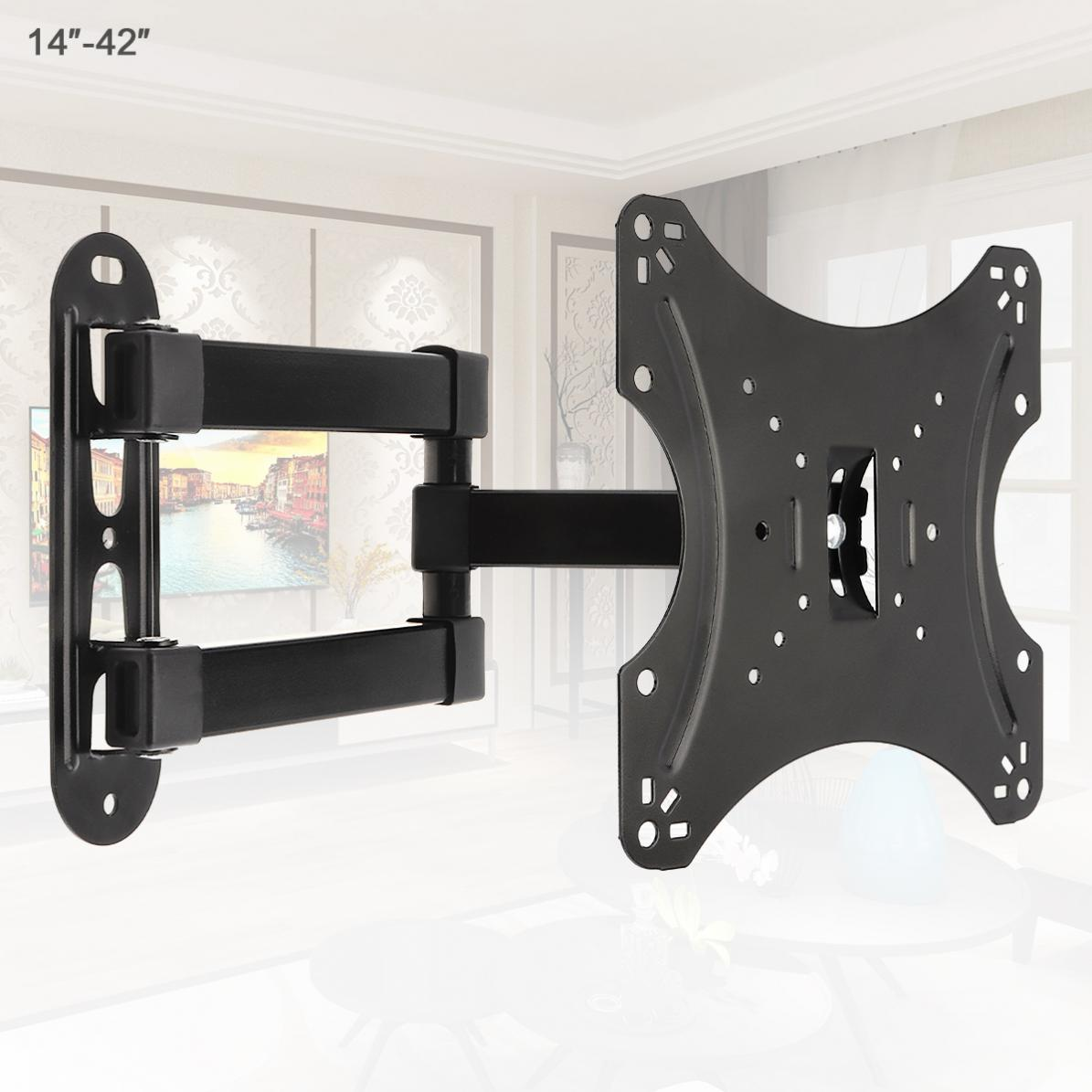 Universal 18KG Adjustable TV Wall Mount Bracket Flat Panel TV Frame Support 15 Degrees Tilt with Gradienter for 14 - 42 Inch LCD