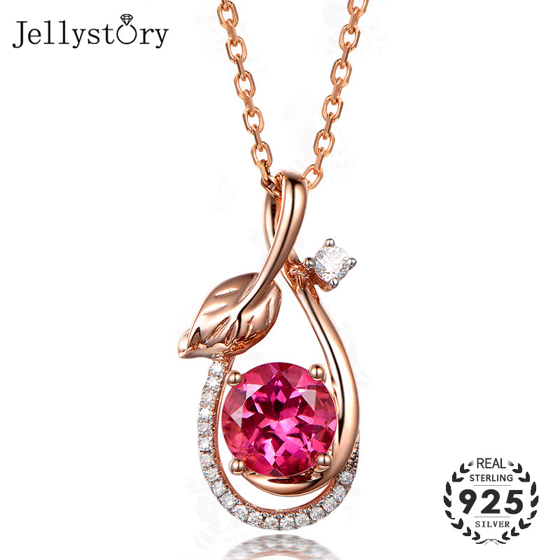 Jellystory Trendy 925 Sterling Silver Necklace With Round Ruby Zircon Gemstone Leaf Shape Pendant For Women Wedding Gift Jewelry
