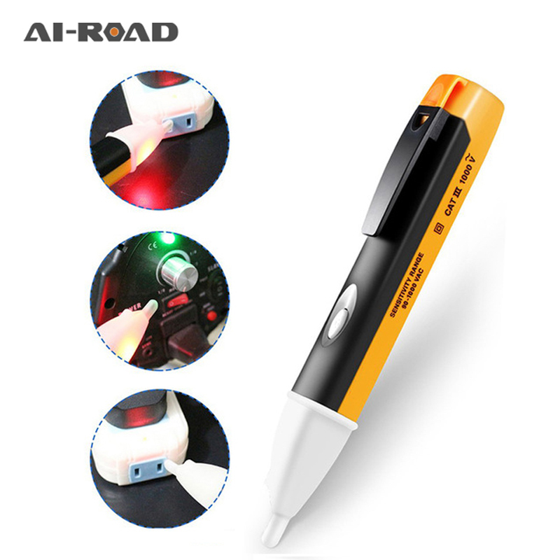 1Pcs Electric Indicator 90-1000V Socket Wall AC Power Voltage Detector Sensor Tester Pen LED Light Indicator Measuring Hand Tool
