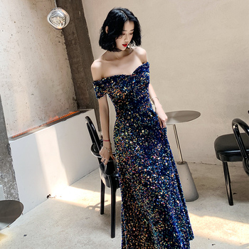 2019 New Listing Off-the-shoulder Sequin Evening Gown Long Paragraph Bridal Dress Fashion Party Temperament Elegant Prom Gowns 6