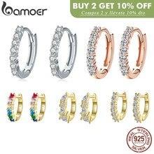 BAMOER – boucles d'oreilles rondes en argent Sterling 100% pour femmes, bijoux éblouissants en cristal CZ, 925, SCE351-1H