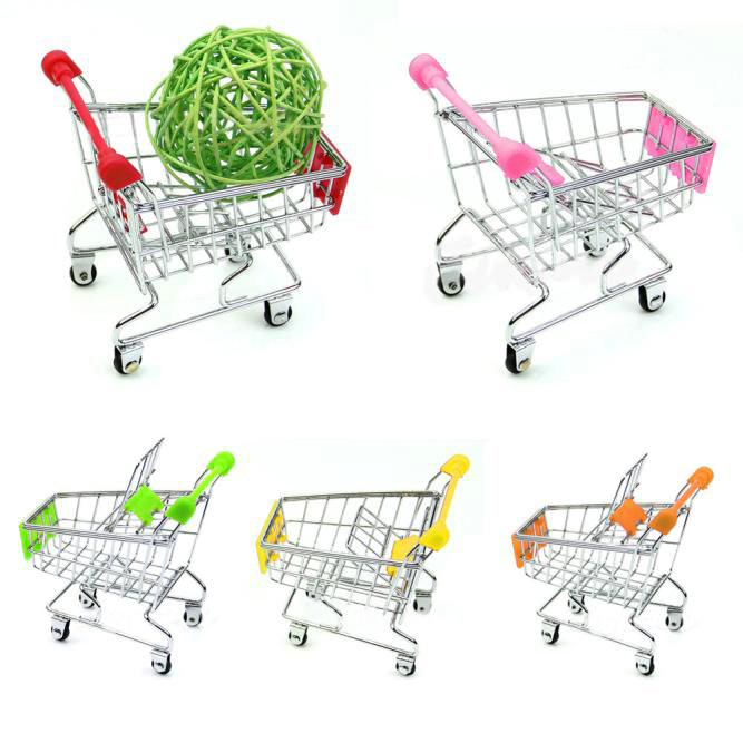 Mini Supermarket Handcart Shopping Utility Cart Mode Storage Basket Desk Gifts Funny Kids Toys For Children