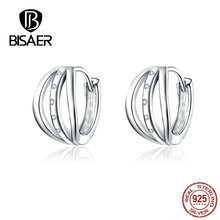 BISAER Stud Earrings Round  Shape Earrings Genuine 925 Sterling Silver Jewelry For Women Shiny Zircon New High Quality HVE193 new fashion high quality super shiny zircon 925 sterling silver stud earring for women jewelry wholesale gift oorbellen