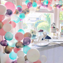 Biru Pink Putih Balon Garland Kit Chrome Emas Ungu Balon LaTeX Pesta Ulang Tahun Balon Arch Pernikahan Perlengkapan Pesta(China)