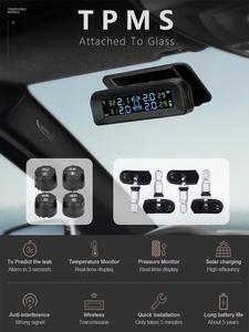 Develuck Car-Tire Pressure-Monitor-System Solar-Power TPMS Wireless Brightness-Control