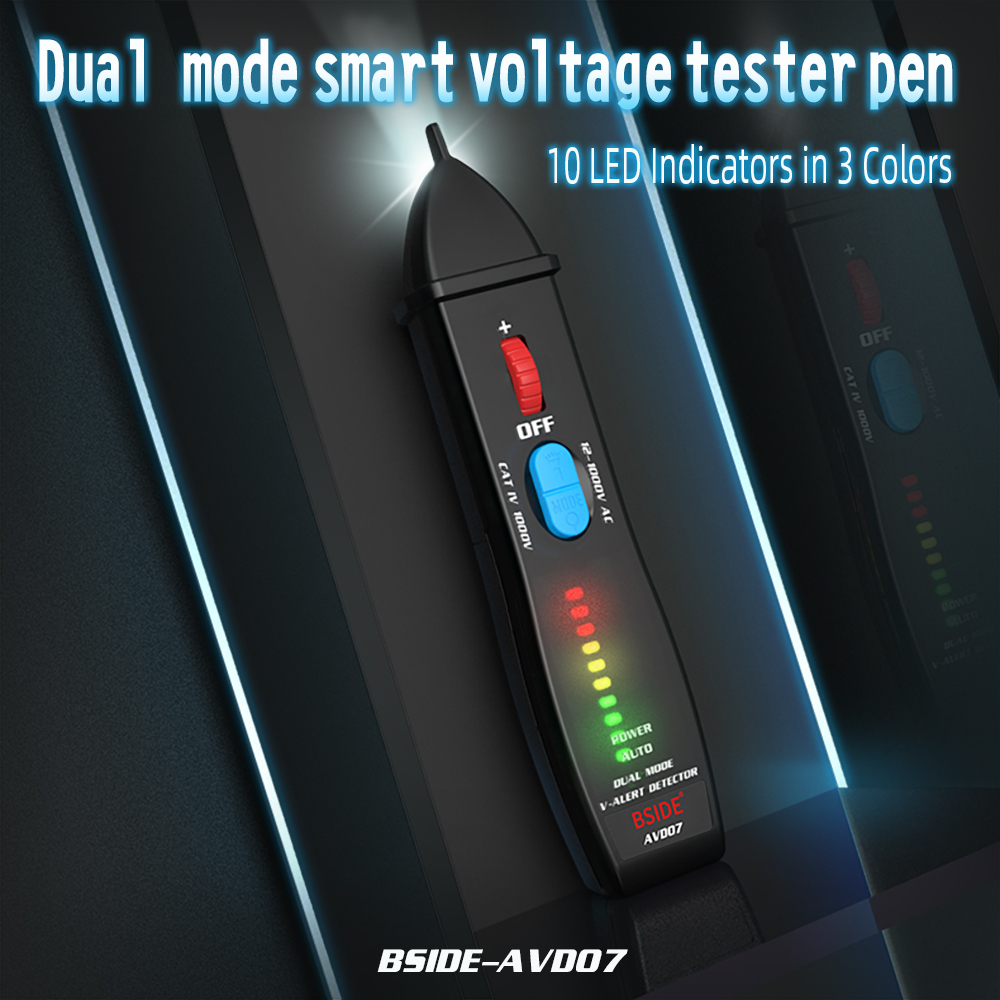 Non Contact AC Voltage Detector Tester AVD06 07 Dual Mode 3 Colors 8 Lights Electric Pen 12V-1000V Style Electric Indicator