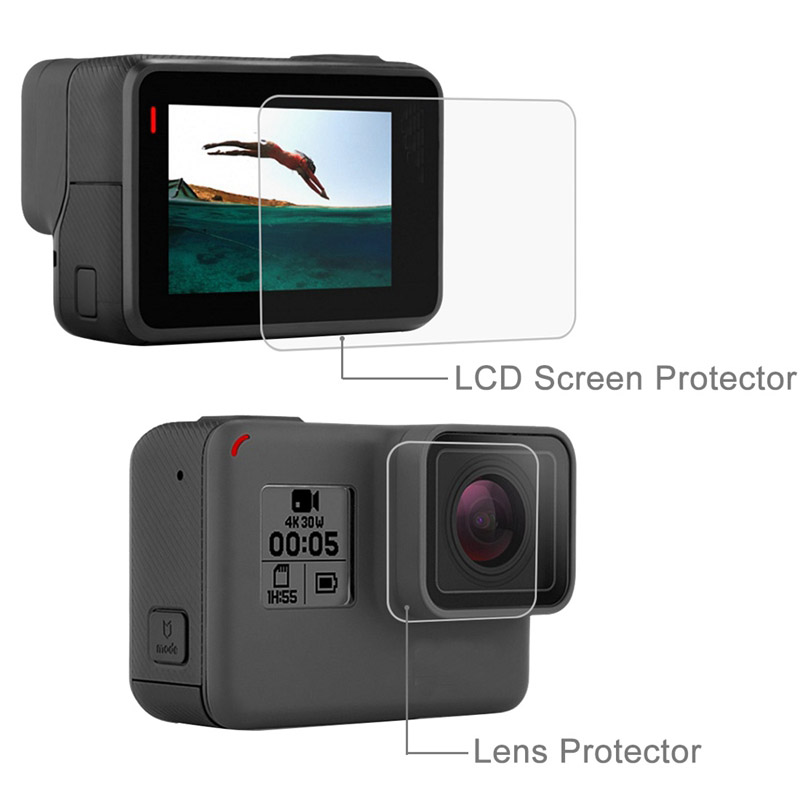 New Tempered Glass Protector Cover Case For Go Pro Gopro Hero 5 6 7 Hero5 Hero6 Hero7 Camera Lens Cap LCD Screen Protective Film 2