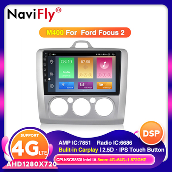 NaviFly For Ford Focus 2 Mk 2 2004-2011 Car Radio Multimedia Video Player Navigation GPS Android 10.0/9.0 No 2din 2 Din Dvd image