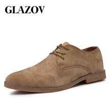 GLAZOV Brand New Plus Size 39-46 Oxford Men Shoes High Quality Suede Spring Autumn Casual Men Leather Shoes Male Dress Shoes