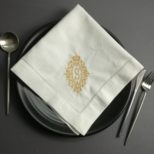 Set Of 12 Monogrammed Dinner Napkins 20*20-inch White Linen Hemstitch Table Napkins  Ladder Embroidered Initial S Tea Napkins