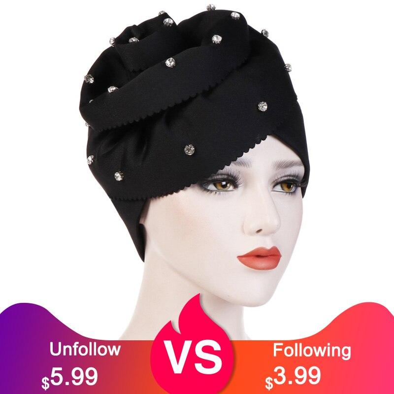 Acessórios de Cabelo Elegante Muçulmano Feminino Grande Flor 3d Algodão Turbante Chapéus Bandanas Quimio Beanies Caps Headwear Envoltório Cabeça Capa Prty