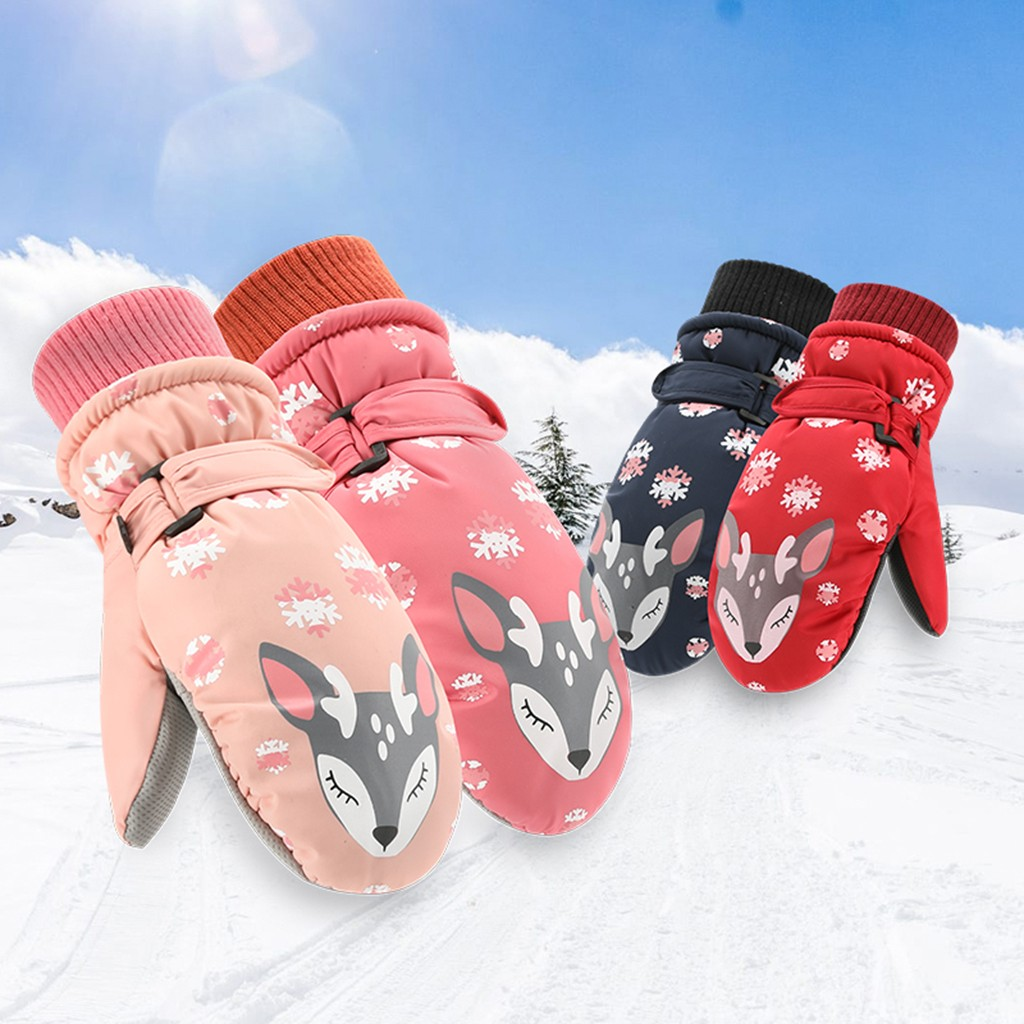 Children Winter Gloves Skiing Waterproof And Skid-Proof Threelayer Warm Outdoor Glove Warm Windproof Mittens High Quality#P