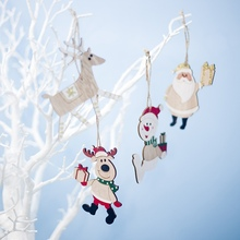 Christmas Hanging Decoration DIY Wall Ornament Colorful Painted Wood Elk Xmas Tree Pendants