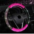 Роскошный зимний плюшевый чехол на руль автомобиля, Алмазный Кристалл Стразы, корона, автомобильные чехлы на руль, универсальный размер 38 с...