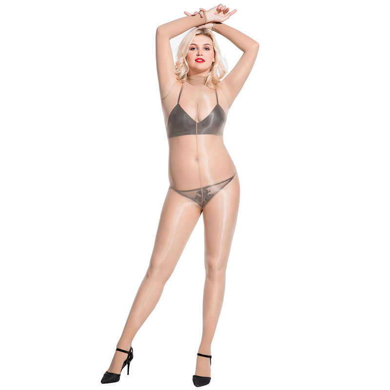 Olie Glanzend Glanzende 8D Dunne Bodystocking Sexy Hot Erotische Open Kruis Bodysuit Babydoll Coltrui Bodycon Een Stuk Panty Jumpsuit