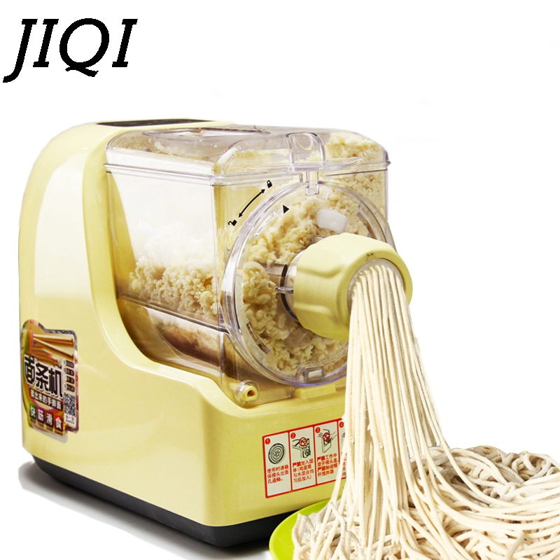 JIQI Electric Noodle Maker Automatic Dumpling Wrapper Press Machine Dough Mixer Spaghetti Pasta Making Vegetable Noodles Cutter