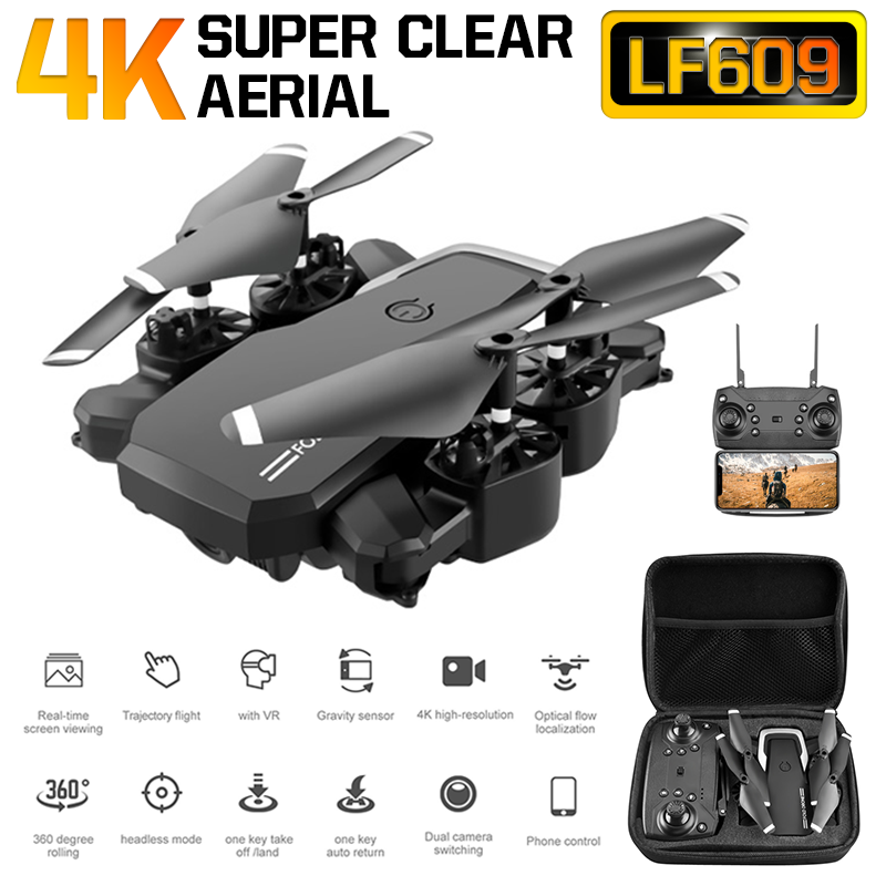 LF609 Drone 4K with HD Camera WIFI 1080P Dual Camera Follow Me Quadcopter FPV Professional Drone Long Battery Life Toy Gift 2 4G