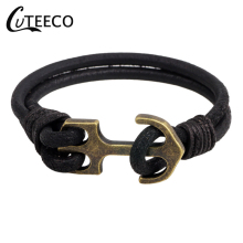 CUTEECO Anchor Bracelets Simple Bracelet Jewelry Leather Cord Alloy Winding