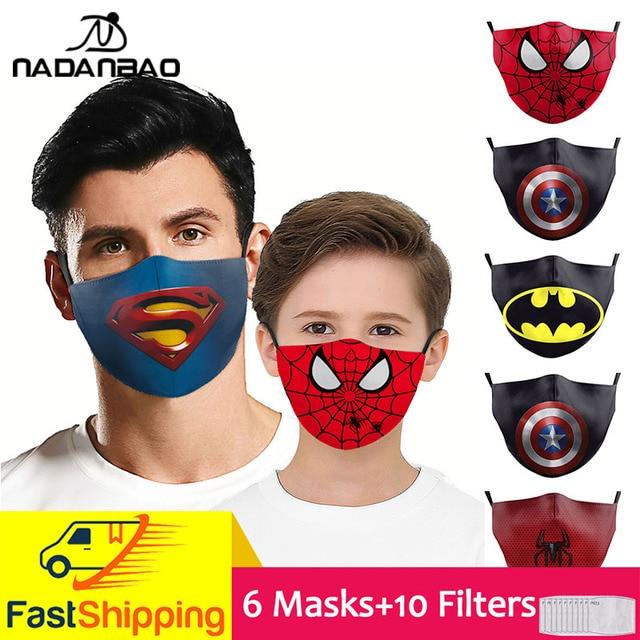 NADANBAO 6 Pcs Sets Superhero Kids Adult Mask Superman Captain Print Face Cosplay Masks Reusable Children Mask Fabric Mask