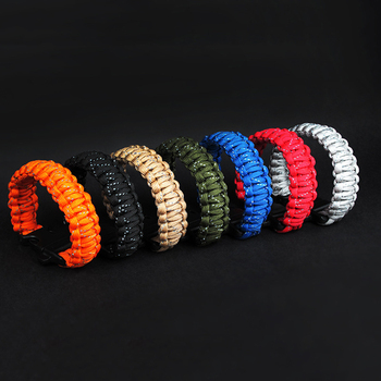 Outdoor Survival Rope Bracelet Wristband Reflective Braided With Whistle Bracelet Self-defence Emergency Escape Rope Hiking image
