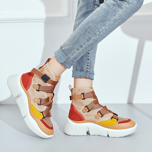 Image 1 - Lucyever femmes mode bottines 2019 automne hiver confortable travail chaussures femme chaussures plates plate forme chaussures baskets hautes