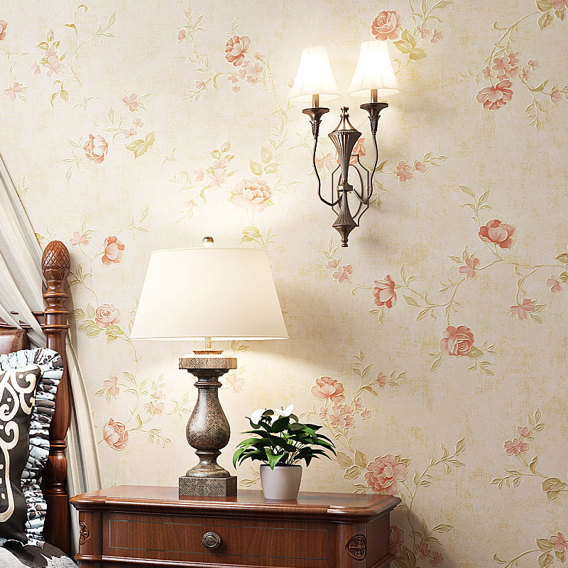 New Beauty-Pastoral Style Flower Non-woven Wallpaper Living Room Bedroom Library Stores Shop Villa Wallpaper