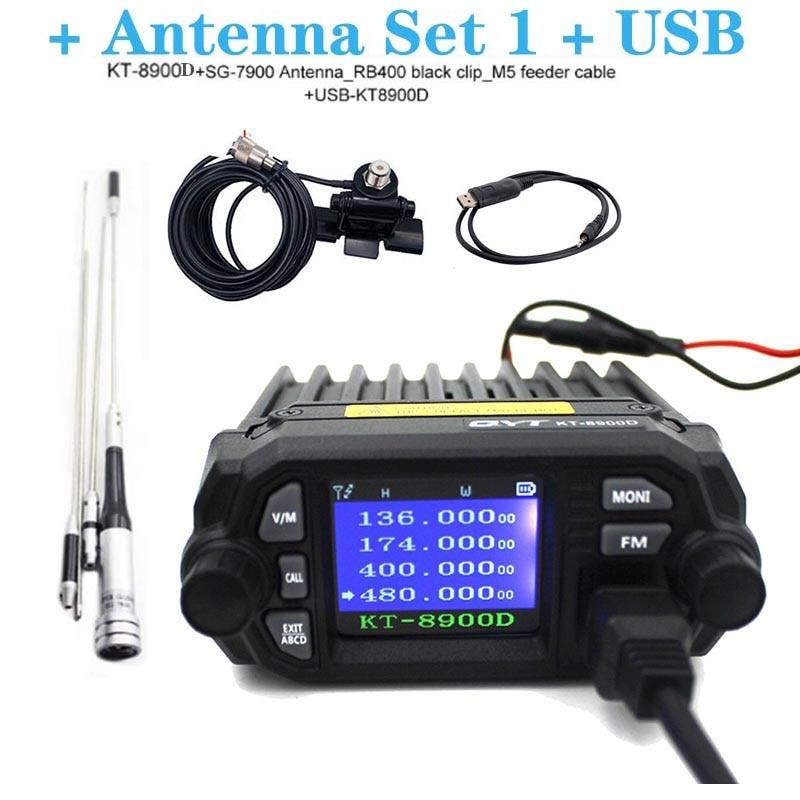 Qyt atualizado de KT-8900R mini walkie talkie KT-8900D colorido quad display 25w banda dupla uhf/vhf rádio móvel do carro kt 8900d