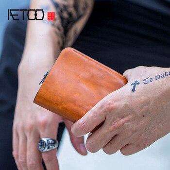 AETOO Vintage small wallet, men's vertical zero wallet, leather men's short wallet, handmade wallet фото