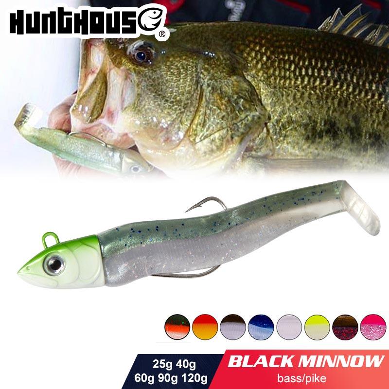 Hunthouse Black Minnow 25g 40g 60g 90g 120g Easy Shiner Fishing Lure Soft Lure Lead Jig Bait Bass Pike Fishing Leurre Souple