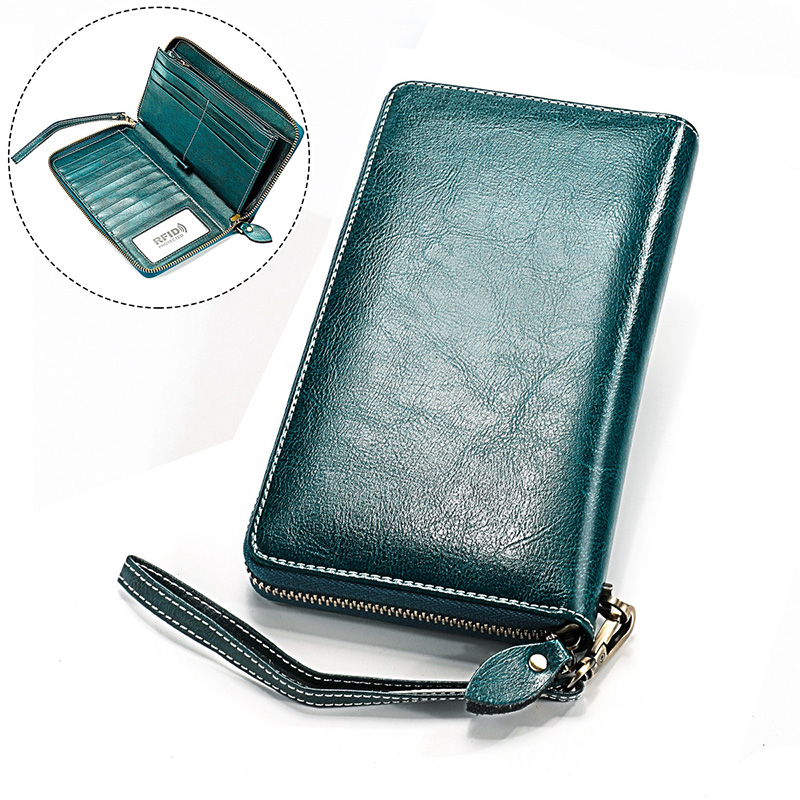 Baellerry Purse Long Genuine Leather Wallet Women 2019 Cards Holder Female Zipper Purses With Phone Bag Big Valet Wrist Carteira