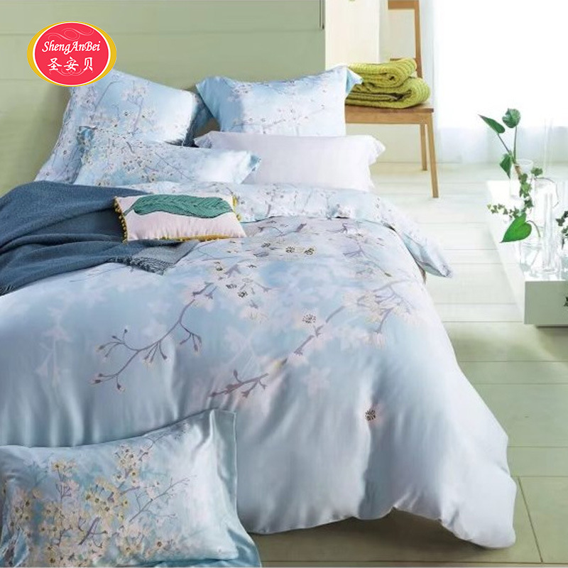 Bedding Article 60 Bare Sleeping Satin Embroidered Double-Sided Tencel Reactive Printing And Dyeing Fitted Bed Sheet Bed Skirt F