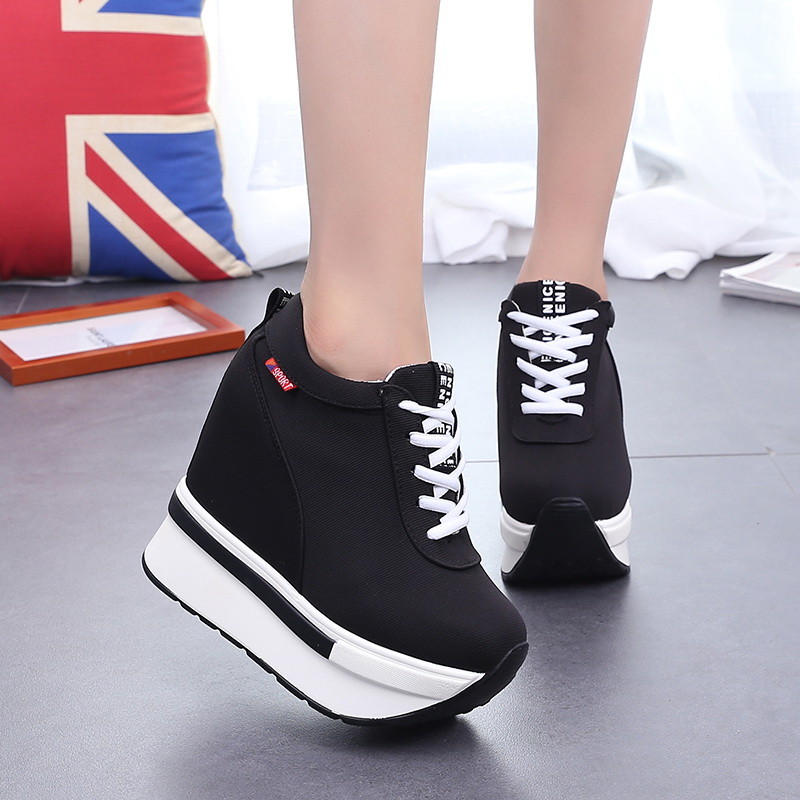 Women Sneakers Fashion Women Height Increasing Breathable Lace-Up Wedges Sneakers Platform Shoes Canvas Woman Casual Shoes 11cm