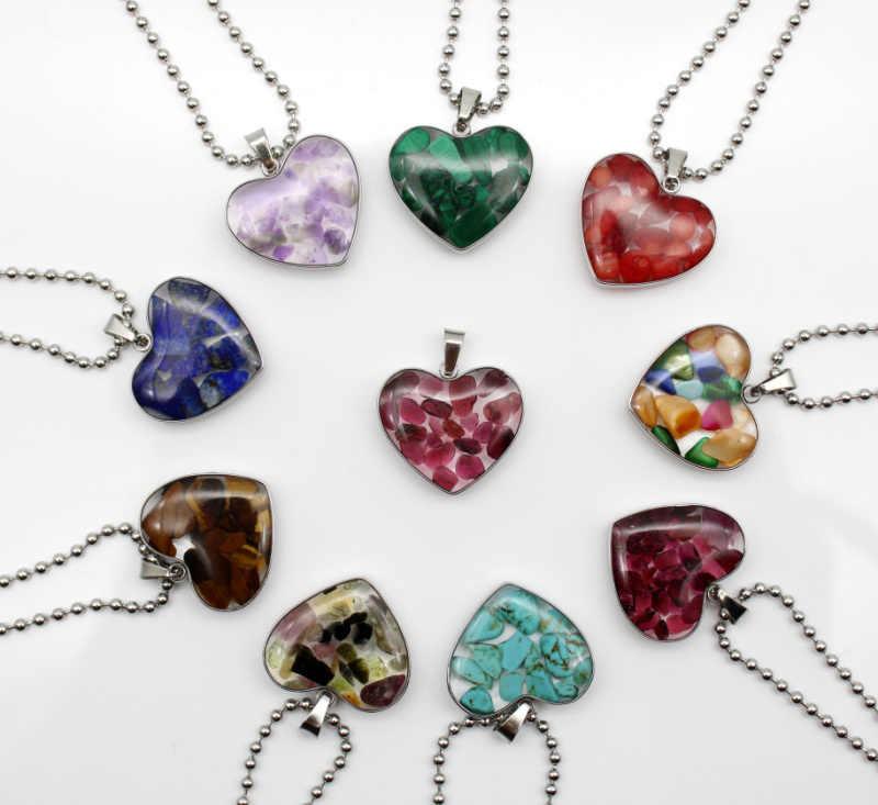 1pcs หินธรรมชาติ Tiger Eye อเมทิสต์ garnets Lapis HAND-made รูปหัวใจผู้หญิงสร้อยคอจี้สแตนเลส 19*21 มม.