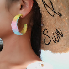 New creative fashion personality charming earrings simple round female pink orange color jewelry accessories