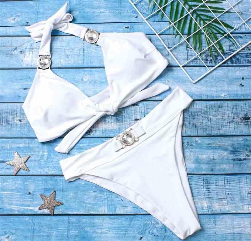 2020 strass maiô feminino de cintura alta biquíni cristal diamante biquíni conjunto metal banho feminino luxo terno natação branco