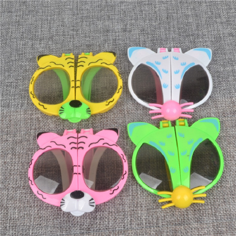 Foldable Kids Cartoon Sunglasses Girls Boys Animal Shape Kawaii Eyewear Toy 10pcs/Lot Lovely Photo Props For Kids