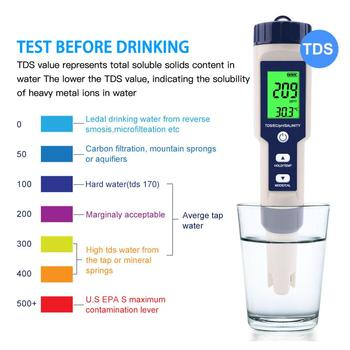 ec cf tds ph c f multifunction 6 in 1 ph meter water quality meter with rechargeable battery tri scale screen display 5 IN 1 PH Temperature TDS EC Salinity Meter Waterproof With Automatic Calibration Function Water Quality PH Tester Backlight