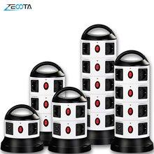Verticale Power Strip Surge Protector Meerdere Socket 3/7/11/15/19 Eu Plug Laag Outlets Met Usb schakelbare 1.8M Verlengkabel