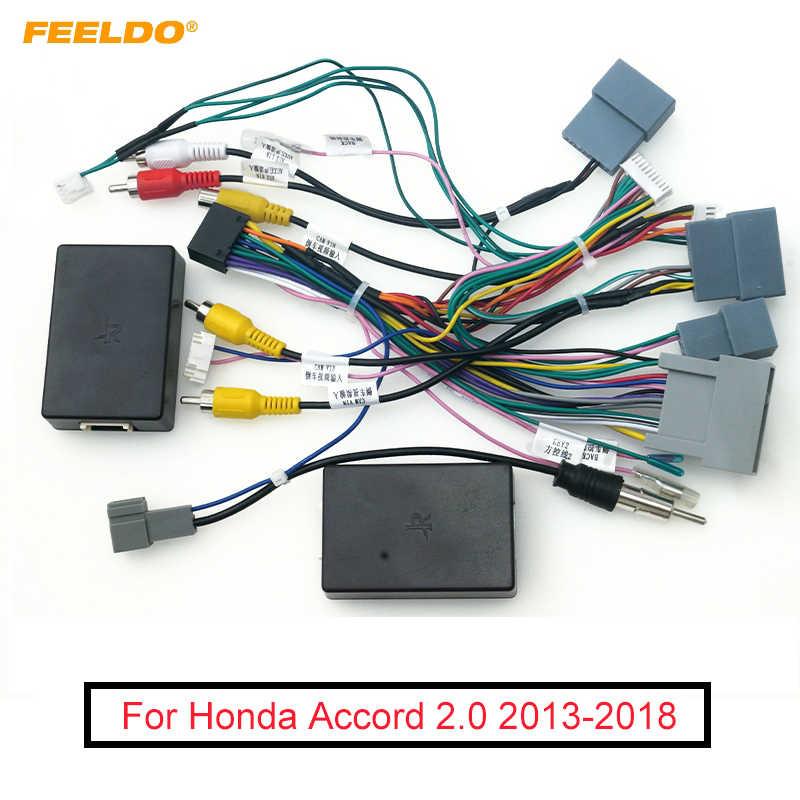 Feeldo C/âble dalimentation Android 16 Broches avec bo/îte Canbus pour Toyota RAV4 Highlander Camry Harnais