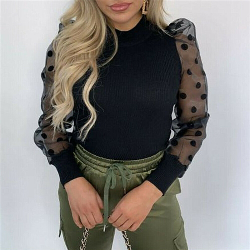 Newest Women Sheer Sleeve Shirt Mesh See-through Blouse High Neck Polka Dot Autumn Winter Puff Long Sleeve Tops Sexy Lace Shirts