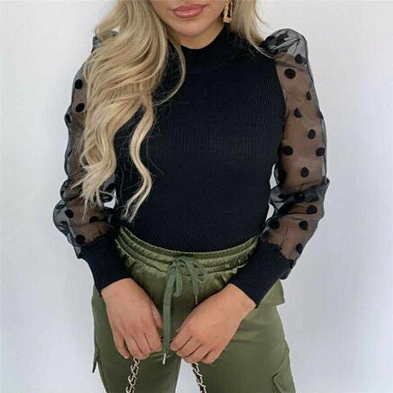 Newest Women Sheer Sleeve Shirt Mesh See-through Blouse High Neck Polka Dot Autumn Winter Puff Long Sleeve Tops Sexy Lace Shirts